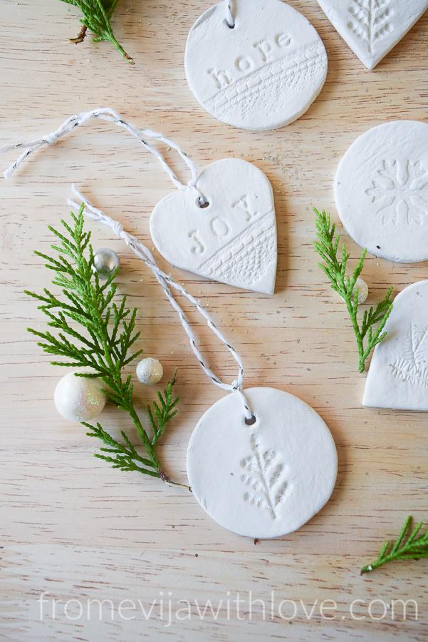 Joy Hope Christmas air clay ornaments