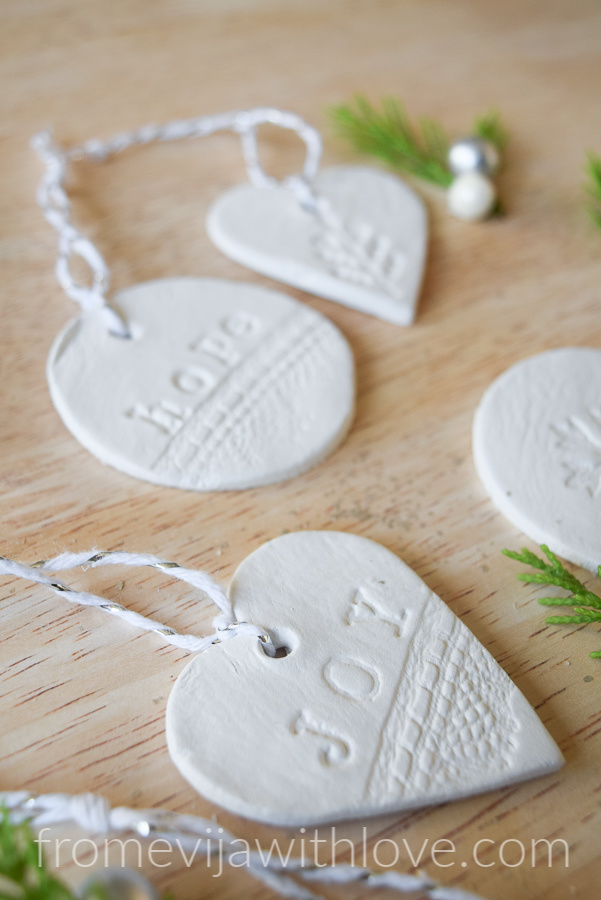 Joy Christmas ornament from white clay