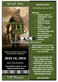 Custom Printable Military Ops Party Invitations