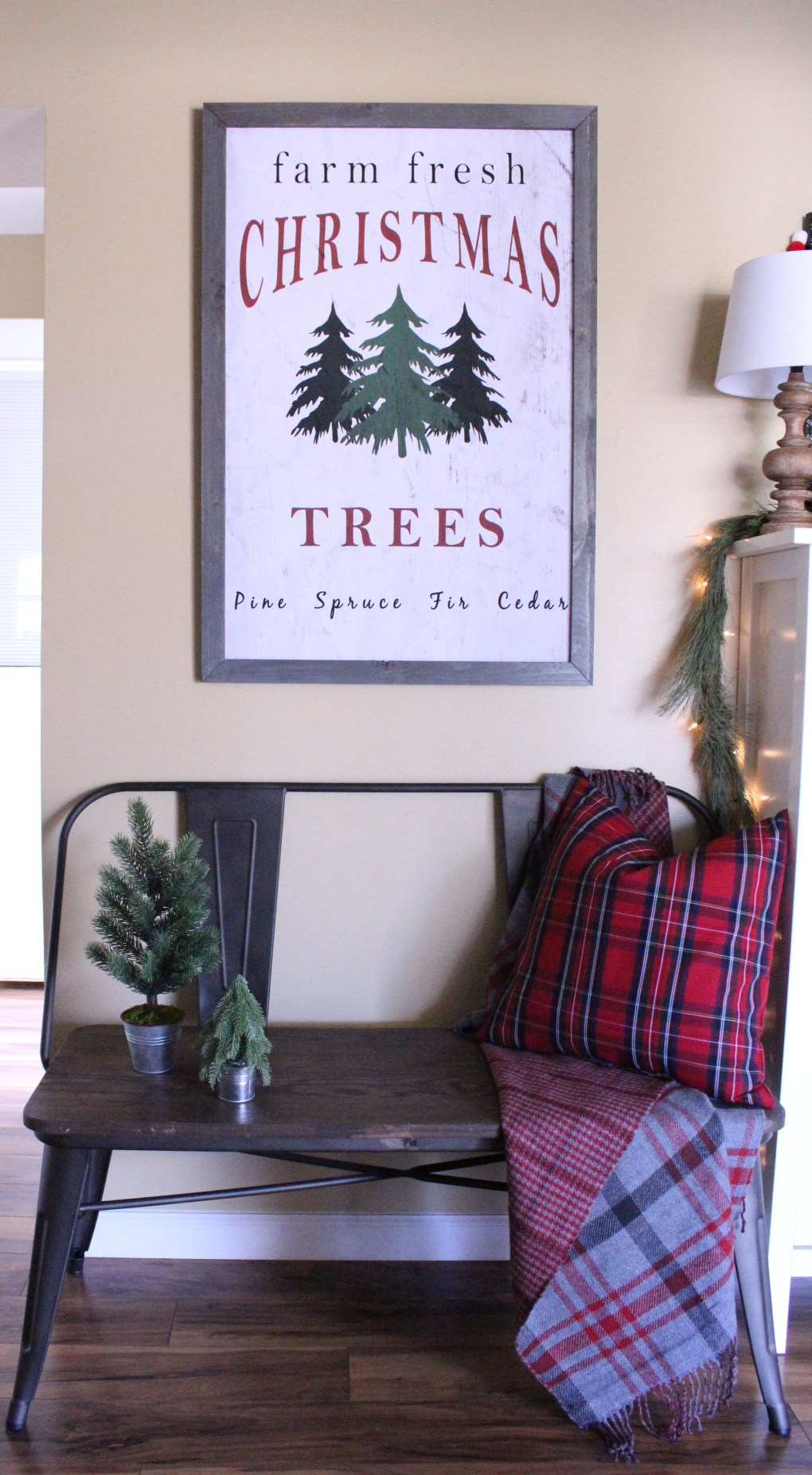 Farm Fresh Christmas Trees Sign in Entryway