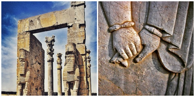 Gate of all nations, the entrance of Persepolis (left) - 2.500 year old love written in stone (right)
