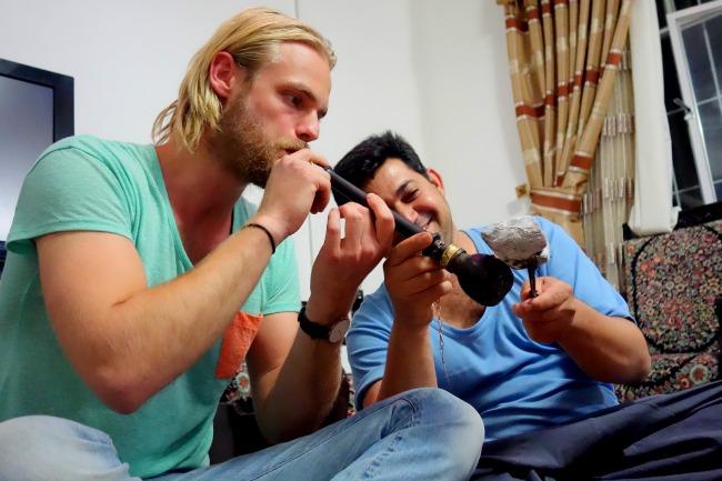 Smoking opium Iran