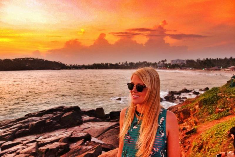 Enjoying the sunset at the beach in Mirissa Sri Lanka