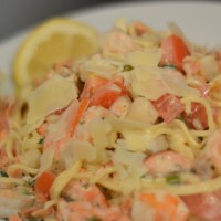 35 - Seafood in Lemon-Parmesan Cream Sauce with Homemade Angel Hair Pasta