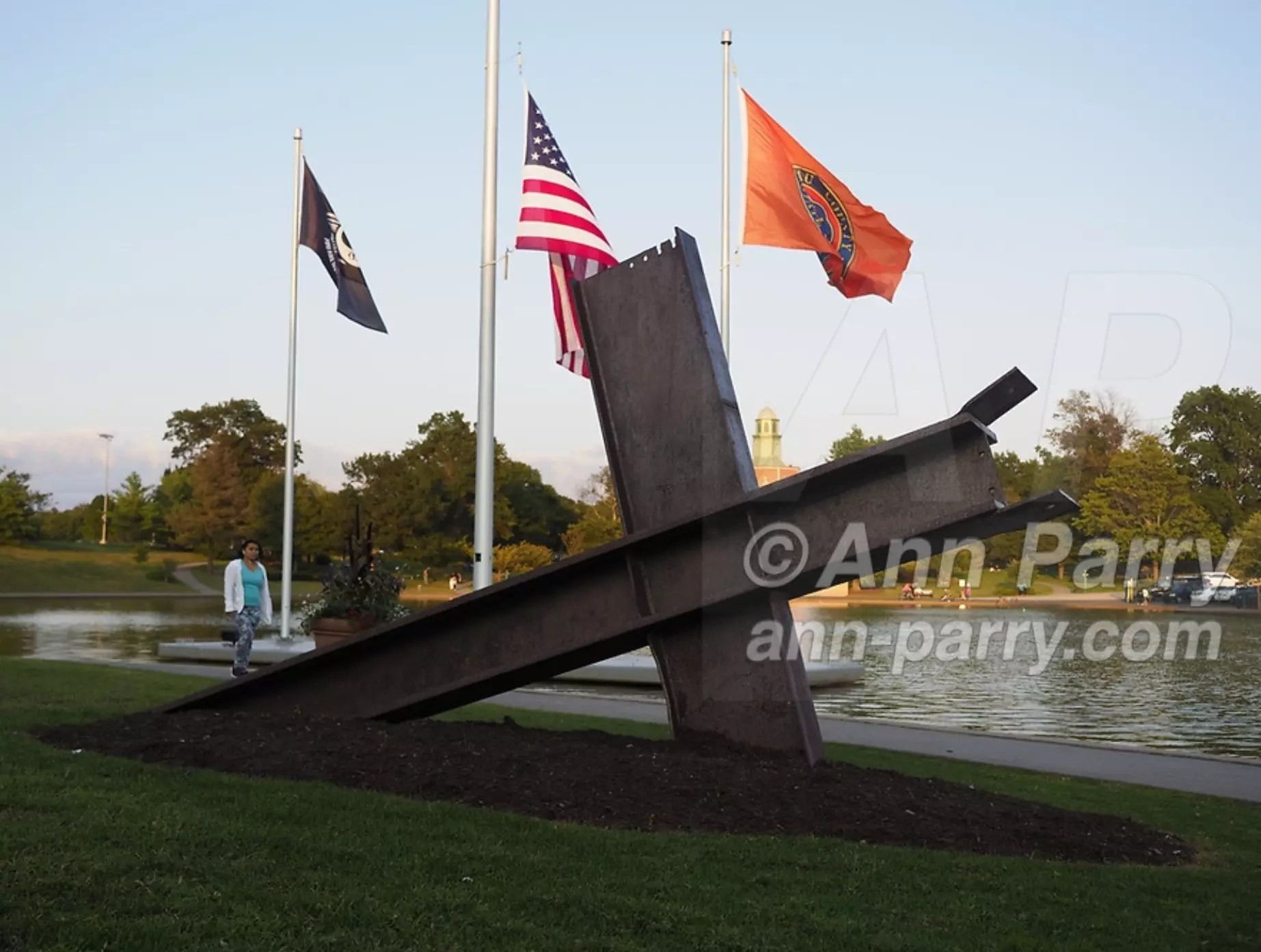 East Meadow, NY, USA. Sept. 10, 2017. Eisenhower Park pond area, with Nassau County Eisenhower Park September 11, 2001 Memorial on west side of pond and War Memorials on east side of pond.