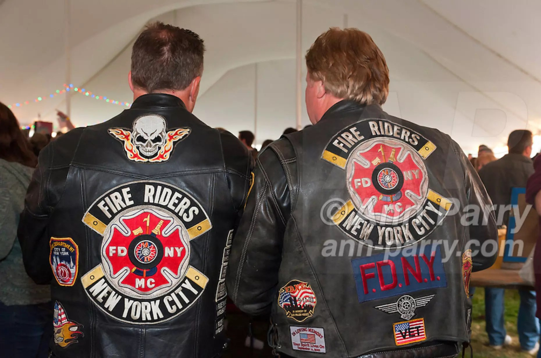 East Meadow, NY, USA. March 31, 2012. Fire Riders of New York City attend Fundraiser for firefighter Ray Pfeifer - battling cancer after months of recovery efforts at Ground Zero following 9/11 2001 Twin Towers attack - draws supporters from New York, Massachusetts and more, at East Meadow Firefighters Benevolent Hall.