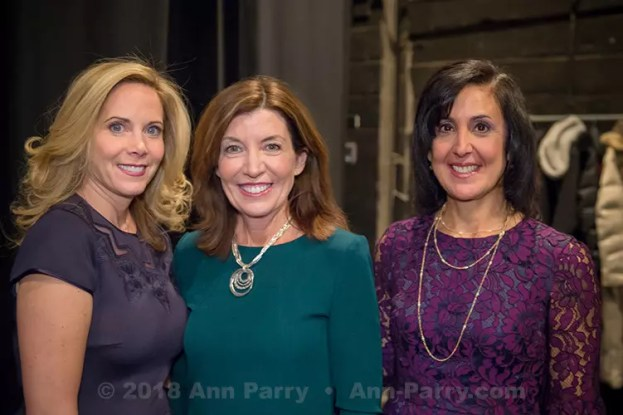 Hempstead, New York, USA. January 1, 2018. L-R, Hempstead Town Supervisor LAURA GILLEN, New York State Lt. Governor KATHY HOCHUL, and Hempstead Town Clerk SYLVIA CABANA pose for photo shortly before Lt. Gov. swears-in Gillen, at Hofstra University.