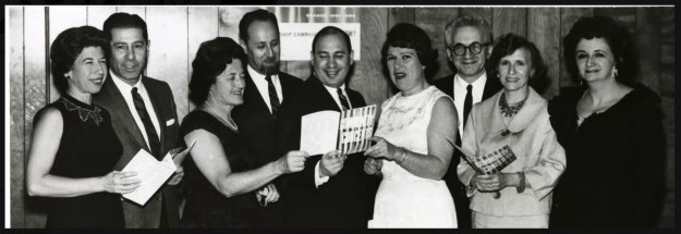 Merrick or Bellmore, New York, USA. 1965. Members of MBCCA Merrick Bellmore Community Concert Association, including 2 of the founders: Mary Ann Parry second from right, Leon Summit third from right. Bertha Winters also a founder.