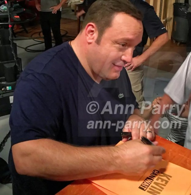 Actor KEVIN JAMES autographs copies of front cover of script after taping of first episode of Kevin Can Wait, at Gold Coast Studios, Long Uskand, New York, 2016.
