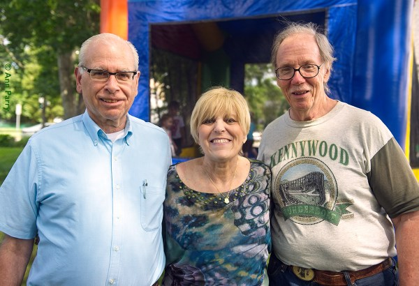 Merrick, New York, USA. July 2, 2016. L-R, BOB CHINSKY, JOYCE CHINSKY, BOB STUHMER are in front of Bouncy Castle at Emily's First Birthday Party, hosted by her Mom and Dad at Nana Ann's home.