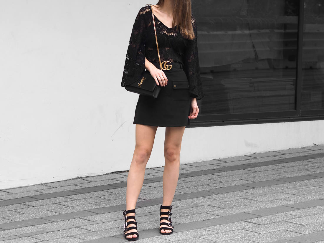 All black outfit gucci belt blogger