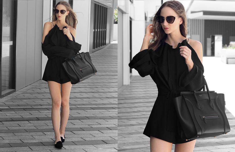 Celine Mini Luggage Bag Black Outfit Fashion Blogger