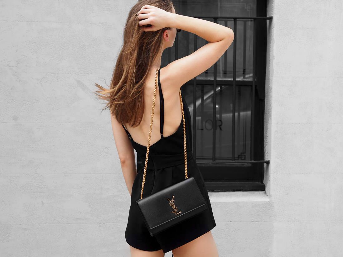 All Black Outfit Saint Laurent YSL medium satchel bag fashion blogger