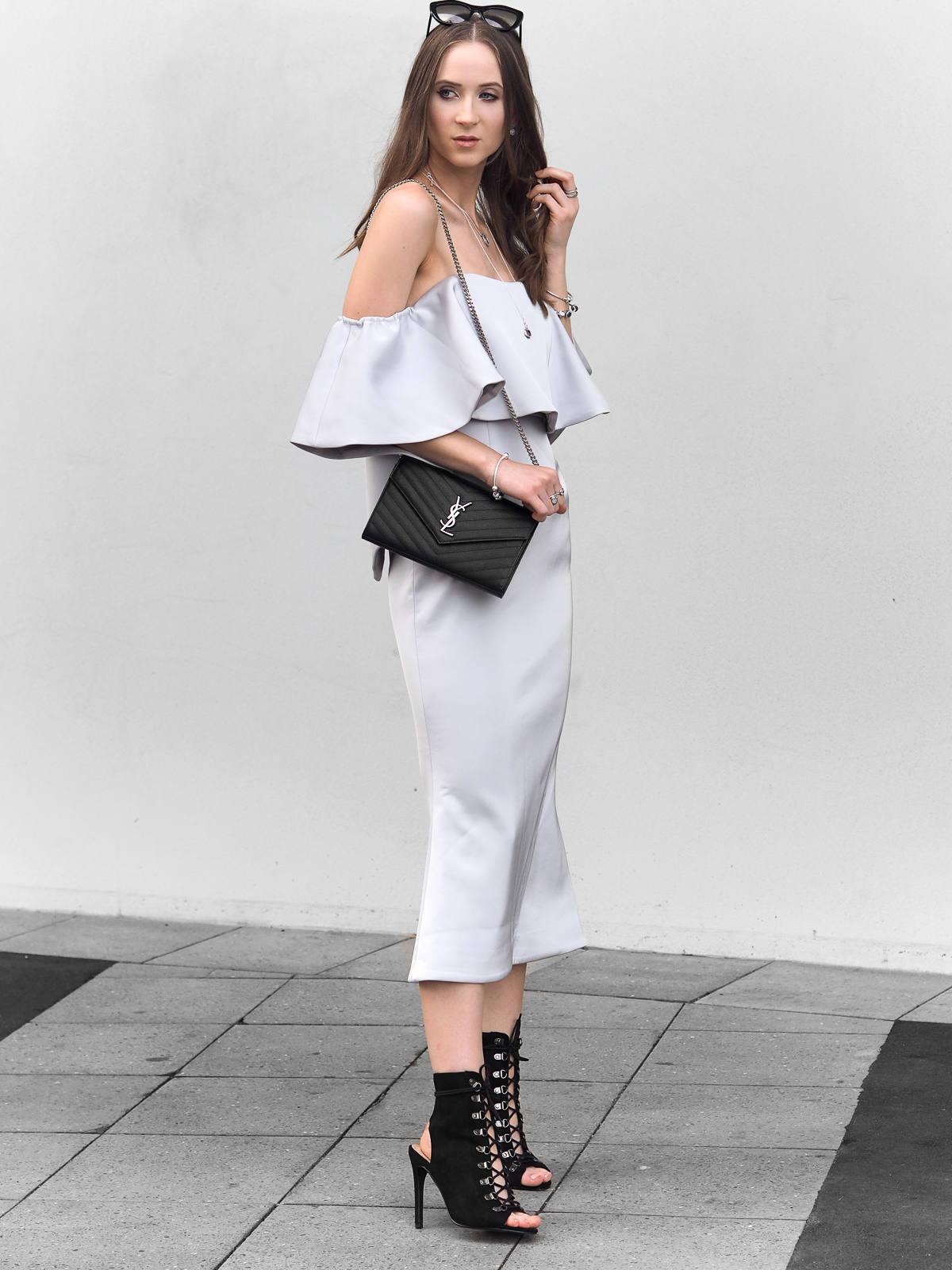 Talulah Without You Midi Dress Billini Carven Heels Saint Laurent clutch