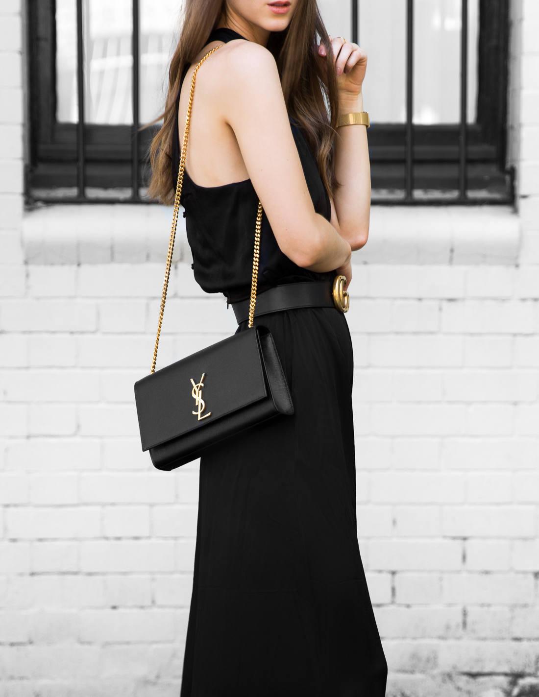 Pasduchas Black Jumpsuit Gucci Belt Saint Laurent YSL Bag