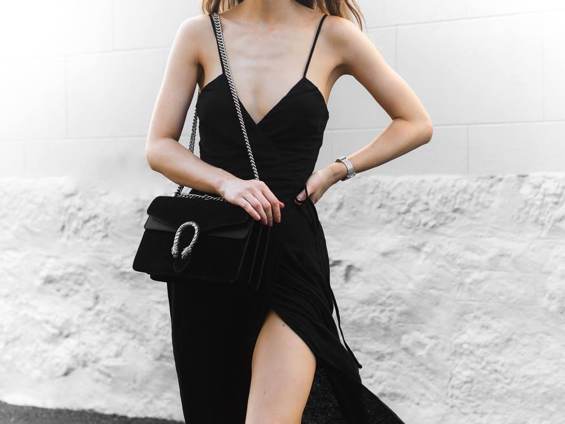 street style wrap dress gucci dionysus black bag