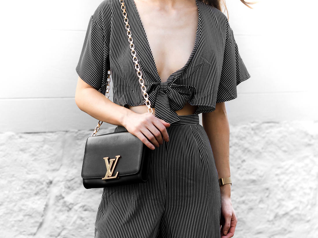 Louis Vuitton Chain Louise Bag Black Outfit Street Style