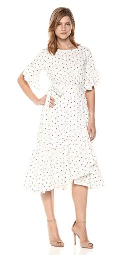Cynthia Rowley Polka Dot Wrap Midi Dress