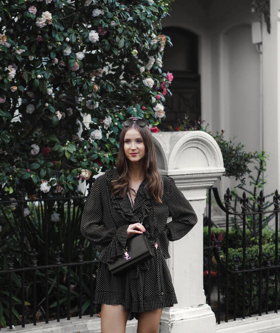 Spring Playsuits YSL Saint Laurent Kate Bag Outfit