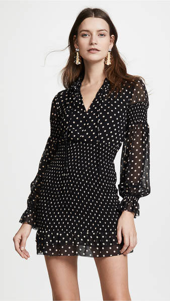 Nicholas Polka Dot Smocked Mini Dress