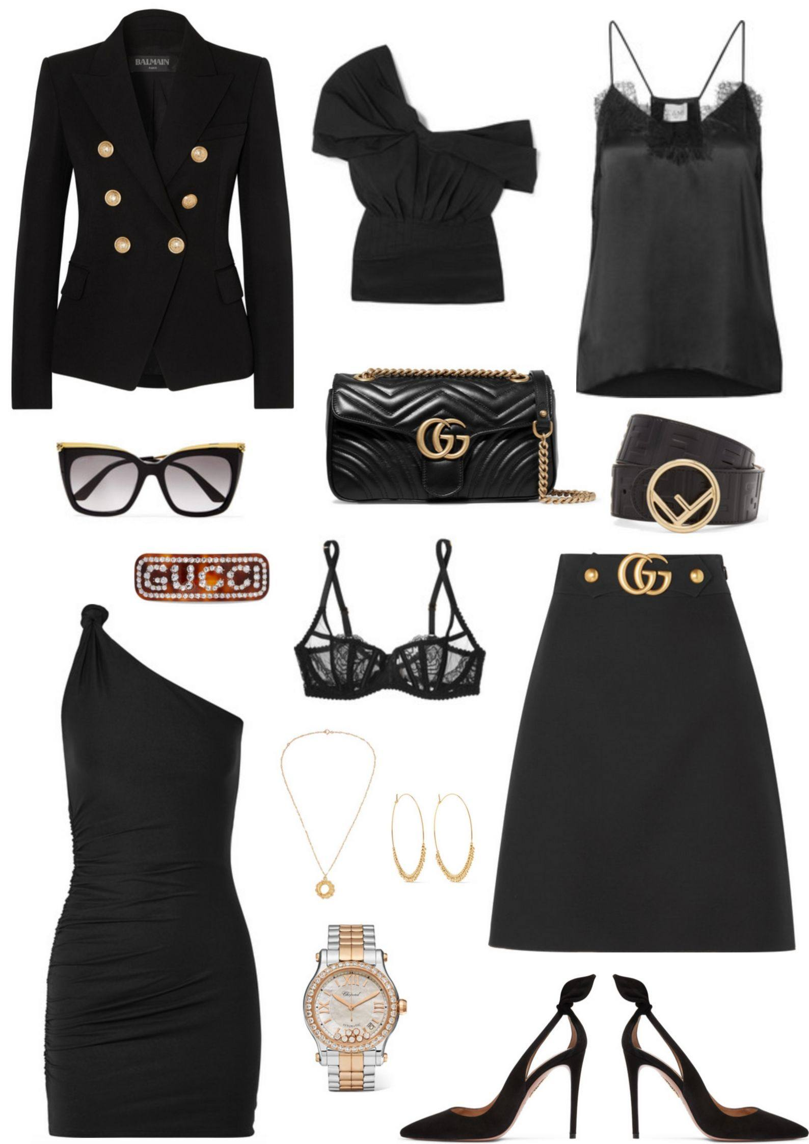 All black outfit collage