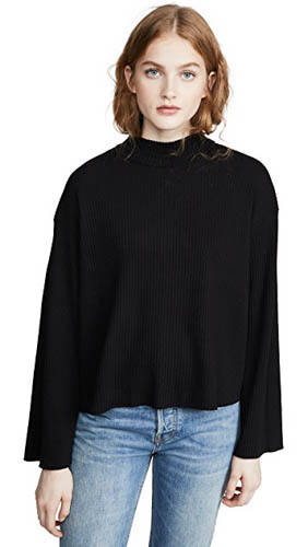 Stateside Heavy Rib Mock Neck Top