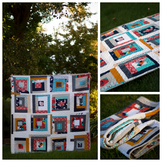 Improv log cabin baby quilt | from Marta with Love