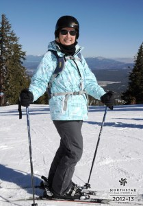 Maureen styling out on the slopes