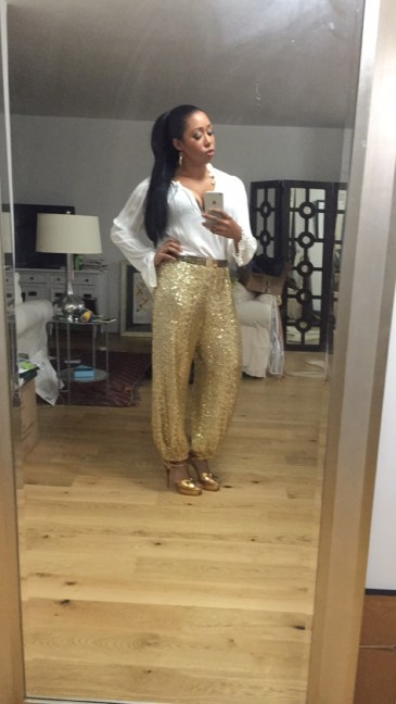 Fall Ball: Custom Ralph Lauren gold sequin pants, Elizabeth and James blouse, YSL Tributes