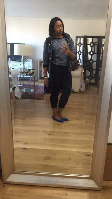 J Crew vest and sweater, NYD jeans, blue suede J Crew ballet flats