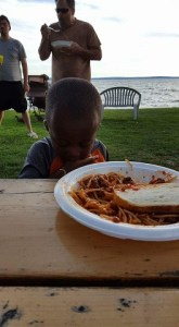This meal required a little clean up time, but he enjoyed it, and Nona's (Aunt Martha's) spaghetti was a big hit.