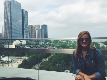 Rooftop bar overlooking Chicago