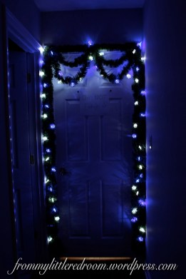 I decorated my bedroom door.... complete with a Do Not Enter sign because the stock of gifts is growing! :)
