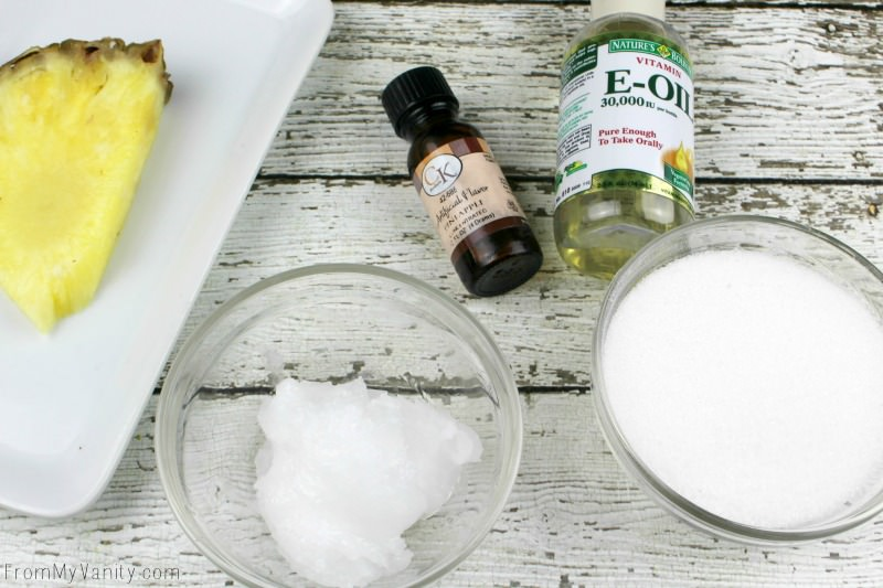 All the ingredients you need to make a DIY lip scrub!