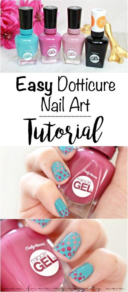 Easy Dotticure Nail Art   Tutorial   Sally Hansen Miracle Gel   Step-By-Step Tutorial