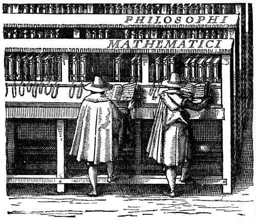 Two Dutch scholars browse at the University of Leiden, 1610