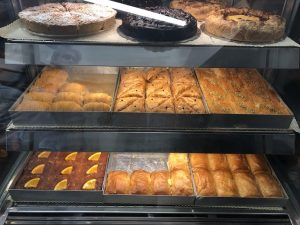 Baklava pastries, pies at Melenio's pastry shop, Greece