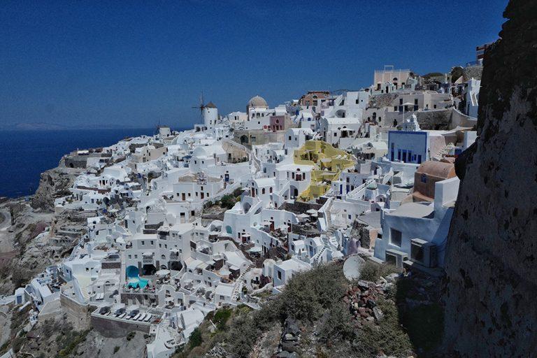 Pointe extrême à Oia, Thira Grèce