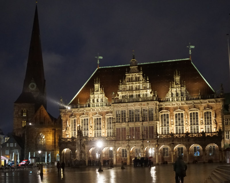 Market Place in Bremen at night