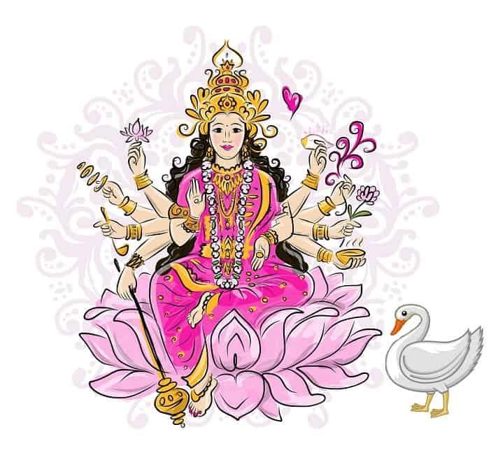 Illustration of Goddess Gayatri