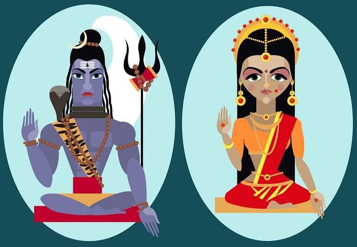 Illustration lord Shiva and mata Parvati Traditional Hindu deity