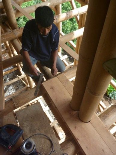 fine woodwork is required when working with the natural shapes of bamboo