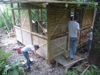 building of a bamboo cabin for volunteers at the RTF Natural Building School