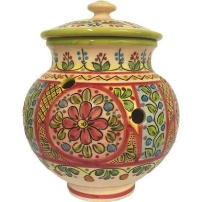 Hand Painted Ceramic Garlic Jar from Spain