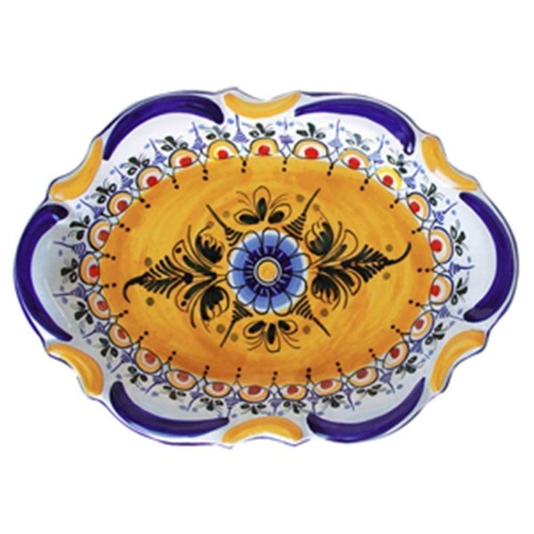 Hand Painted Ceramic Oval Plate.  Fiesta Yellow