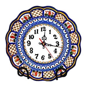 Hand Painted Ceramic Wall Clock.  Multicolor