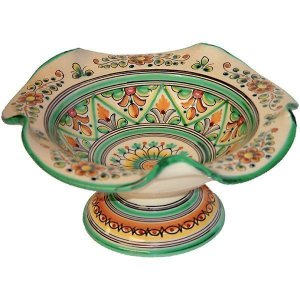 Scalloped green ceramic Spanish fruit bowl