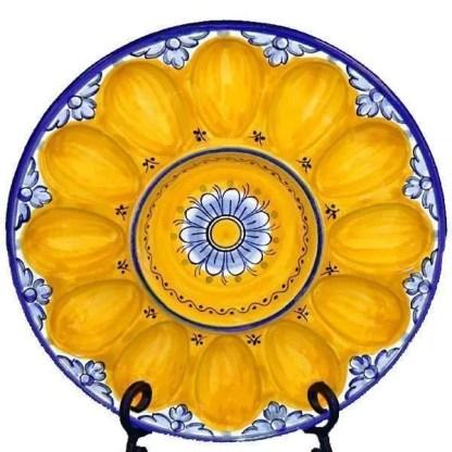 Spanish ceramic egg plate