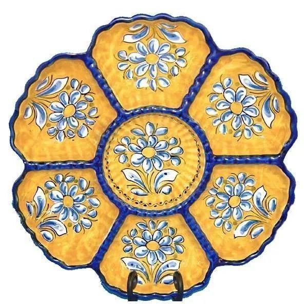 Yellow Spanish Ceramic Crudite Platter