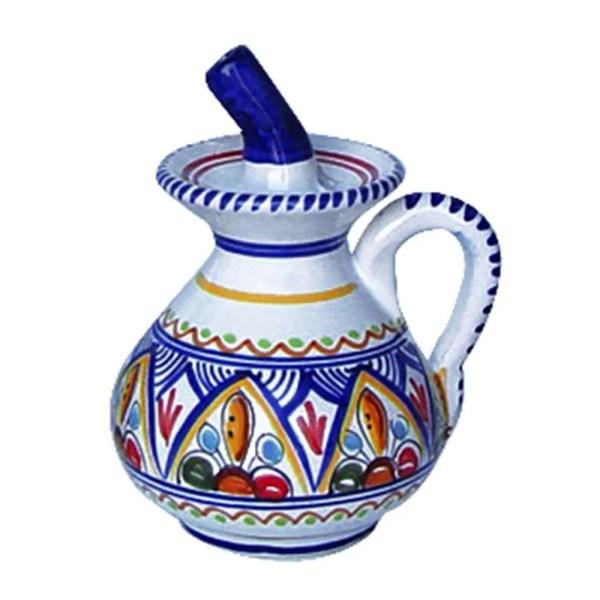 Spanish ceramic oil dispenser cruet